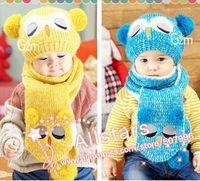 El envío libre algodón Nueva invierno bebé bufanda hecha punto sombrero del bebé niño tapa de establecer búho chico chica niño 2 pieza azul rojo rosa amarilla h-0311