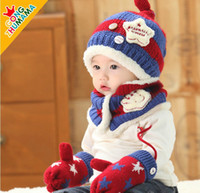 baby outlet protectors - Factory Outlet baby girls boys winter hat sets kids scarf gloves hat set baby winter star ear protector snow caps