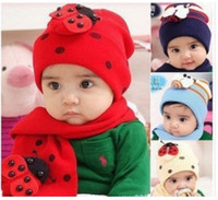 artificial bugs - Fashion Baby Boys Girls Childrens Lady Bug Warm Hat With Scarf In Set Colors Available
