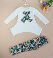 bears clothes - Hot sell autumn new girls bear long sleeve t shirt flower legging clothing set cotton kids clothes sets