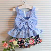 Wholesale Kids clothes Baby girls dress Summer bowknot vest floral minutes of pants flowers baby clothes pieces suit girl dress up