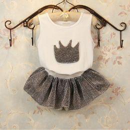 Descuento trajes de la astilla ropa de los niños y niños de manga corta de la astilla de la corona de la ropa del juego del bebé conjunto de la camisa + falda conjunto para la altura de 90cm-130cm