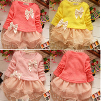 Wholesale Details about Casual Baby Girls Clothes Knitted Top Kids Bow Princess Long Sleeve Dress Y