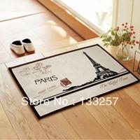 bathroom linen tower - ZAKKA Coton Linen Anti Slip floor mat Effiel tower slip resistant Door mat carpet mats rug mat X40CM