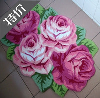 beautiful area rugs - Unique Handmade embroidery rose flower shaped area rugs door mats carpet flower painting beautiful bedroom mat bath mat