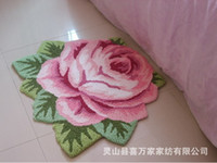 area flowers - ROSE flower super thick carpet polyester shaggy carpet anti skid bathroom door mats area pink rug home decor