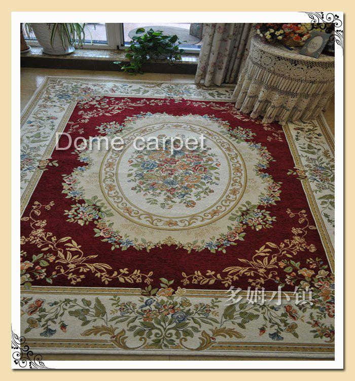 Luxury rugs chenille carpet burgundy european country style area rugs chic floral carpets for for Country style area rugs living room