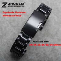 Wholesale New Watch Band Womens Men mm mm mm mm mm mm Buckle Black Stainless Steel Watch Band Strap Straight End Bracelet