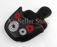 Wholesale 2015 Customized OEM Golf Putter Headcover Synthesis Leather Mallet Putter Head cover with Magnet Black