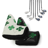 Wholesale Lucky Four Leaf Clover Durable Water Proof Golf Putter Cover soft PU Headcover for Anser and Blade Putters