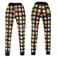 Emojis roupas Preços-3D impressão 2015 óculos de sol amor enfrenta corredores emoji diamante moletom preto calças mulheres casuais calças roupa solta XL