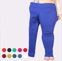 Wholesale Plus Size XL XL Candy Color Women Pencil Pants High Waist Elastic Slim Skinny Fitness Leggings Big Women Leggins