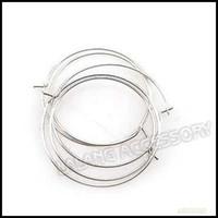 Wholesale New Hoop Earrings Ear Wires Findings mm Rhodium Plated Iron Fit Jewelry DIY