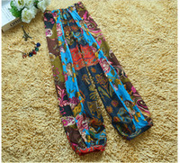 baggy trouses - 1 piece National Bohemian style totem printed baggy pants loose wide legs pants trouses Capris for women