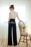 Cheap Lady Career Slim High Waist Flare Wide Leg Long Pants Palazzo Trousers Black