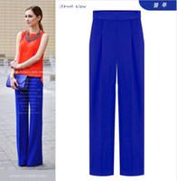 Wholesale 2015 New Autumn High Waist Women Pants European Style Formal Plus Size Woman Capris Culottes Trousers Work Wear Red Blue Black