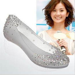 Wholesale Sandal Outsole - Melissa rhinestone candy transparent shoes flat soft outsole crystal jelly shoes open toe sandals sparkling diamond shoes