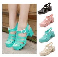 Wholesale retro Roman jelly shoes high heeled thick with transparent crystal plastic sandals women beach shoes