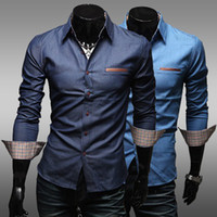 best dress shirts for men - Unique leather pocket water wash casual male slim long sleeve best brand checked dress shirts for men designer