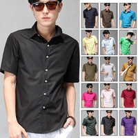 Wholesale New Mens Casual Shirt Sleeves Dress Shirts More Colors to Selective Turn down Collar Breathable XS S M L XL