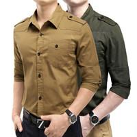 army fatigue shirts - hot sale new Long sleeved Slim Men s wear long sleeve shirt male military fatigues epaulette cotton shirt xl