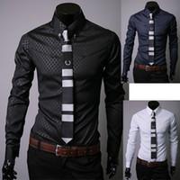 Cheap Mens Shirt Slim Fit Silk Sleeve&Collar Stylish Casual Shirts Long Sleeve Dress Shirts 3 Colors M,L,XL,XXL Camisa Masculina