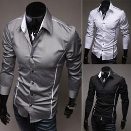 Mens Casual Slim Fit Dress Formal Shirts Unique Neckline Long sleeve Shirt 2015 clothing fashion 3 Colors Size XXS XS S M L