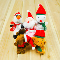 Cheap Wholesale-Children Christmas Gift Baby Santa Claus Soft Plush Finger Puppet Educational Story-telling Toys IYTd