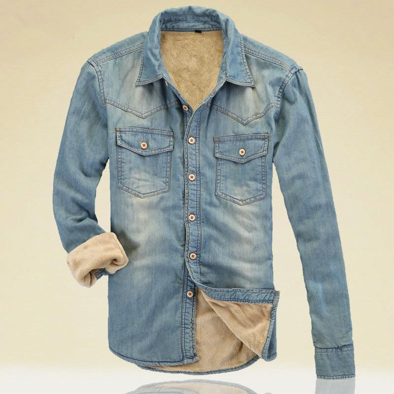 2015 New Men Denim Jeans Shirt European Style Casual Shirt Western