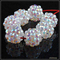 Wholesale New Fashion White Resin Rhinestone Charms Ball Beads Fit Jewelry Handcraft mm