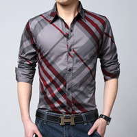 Wholesale 2015 New Spring Brand Mens Blue amp White amp Red Plaid Shirts Long Sleeve Casual checked Shirt Brushed M XL Men Dress JA171