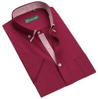 shirts for men italian - Italian designer button down Slim fit short Sleeve fashion shirt for men Hombres de camisa QR