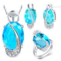 Gros-bijoux de mariage nuptiale Sets Bijoux Argent 925 Collier Cristal Boucles d'oreilles bague sertie Mystic Topaz 20% Ulove T155