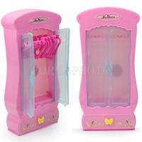 bedroom closet furniture - New Pink Closet Wardrobe x Clothes Hangers for Barbie Doll Furniture Bedroom