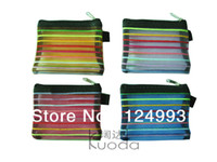Cheap Rainbow color nylon mesh coin purse zip pouch make-up cosmetic zipper bag storage pocket handy case pencil case B8 10.5x13cm