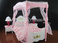 baby dollhouse - Sweet Dream Pink Princess Bed Set Dollhouse Furniture Bedroom Accessories For Barbie Kelly Doll Baby Toys Girls Birthday Gift