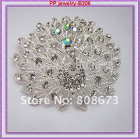 Cheap 2.8 Inch Huge Silver Tone Lovely Peacock Crystal Women Costume Brooch High Quality Elegant Party Dress Pins Wedding Jewelry