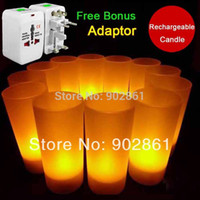 Wholesale Funlife set Rechargeable Candles Wedding Party LED Candle Light Yellow Flicker Flameless With Free Adaptor BD1106
