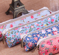 Cheap Fashion Stationery Beauty Flower Rose Tulip Canvas Cosmetic Bag Zipper Pencil Case Storage Pouch