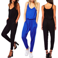 Wholesale Womens Summer Solid V Neck Long Pant High Waist Jumpsuits Overall Bodysuit Rompers Freeshipping