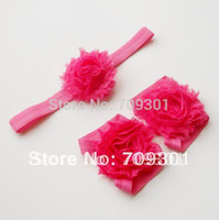 Wholesale Shabby Headband Foot Flower - 20sets lot 2015 new style Shabby Flower foot flower + shabby flower headbands together free shipping