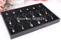 Wholesale Black Compartment Velvet pendant necklace Jewelry Display Case Tray holder RA98 high quality Chain Holder