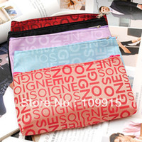 aluminum coin case - 10pcs Makeup Set Portable Letters Pattern Cosmetic Pencil Case Bag Coin Purse Pouch LX0026