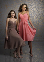 Short A-line Spaghetti Straps Ruched Bodice wiht Bow Belt Knee-length Chiffon Bridesmaid Dress