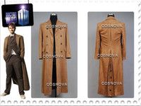 Wholesale Who is Doctor Dr Brown Long Trench Coat Suit Cosplay Costume For Men Custom Made