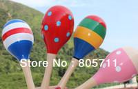 cabasa - Good Quality Cartoon Color Design Wooden Maracas Cabasa Sand Hammer Preschool Baby Educational Toys