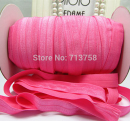 Free shipping 5 8''(1.5cm) stock solid color Fold Over Elastic FOE band headband color Hot Pink 16colors in stock 50y lot