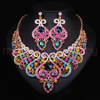 Wholesale Fashion Bridal Jewelry Sets Wedding Necklace Earring For Brides Party Accessories Gold Plated Crystal Sapphire Decoration Women