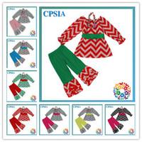 chevron clothing - sets Baby Girls Cotton Christmas Outfits New Ruffle Pant Sets girls clothing chevron clothing set