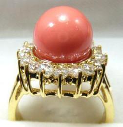 wholesale Pink Coral 18KGP Crystal Ring Size: 6.7.8.9.10